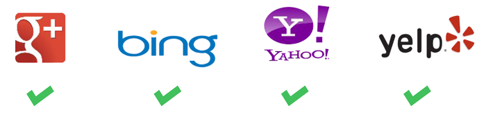 Google Reviews, Bing Reviews, Yahoo Reviews, Yelp Reviews