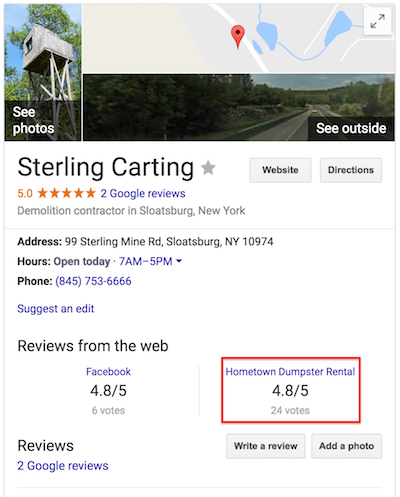 Sterling Carting - Google Map Example